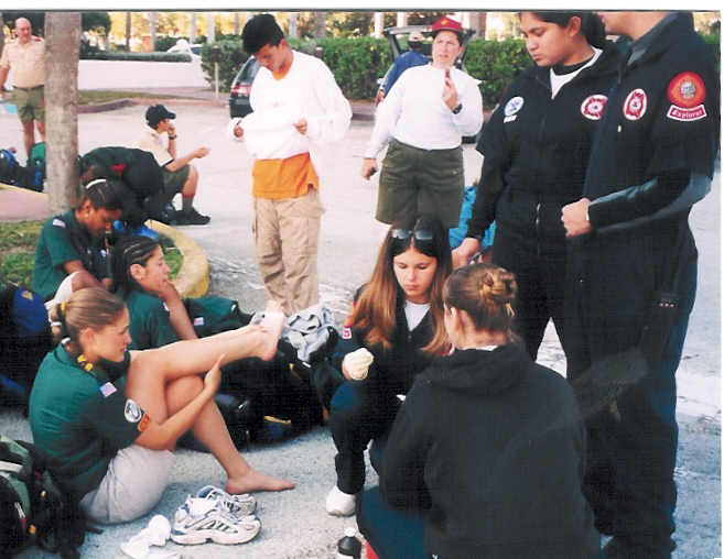 Miami Dade Fire Explorers perform First Aid.